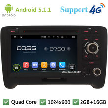 Quad Core 7″ 1024*600 Android 5.1.1 Car DVD Player Radio Stereo Screen With 3G/4G WIFI BT GPS Map USB DAB+ For Audi TT 2006-2014