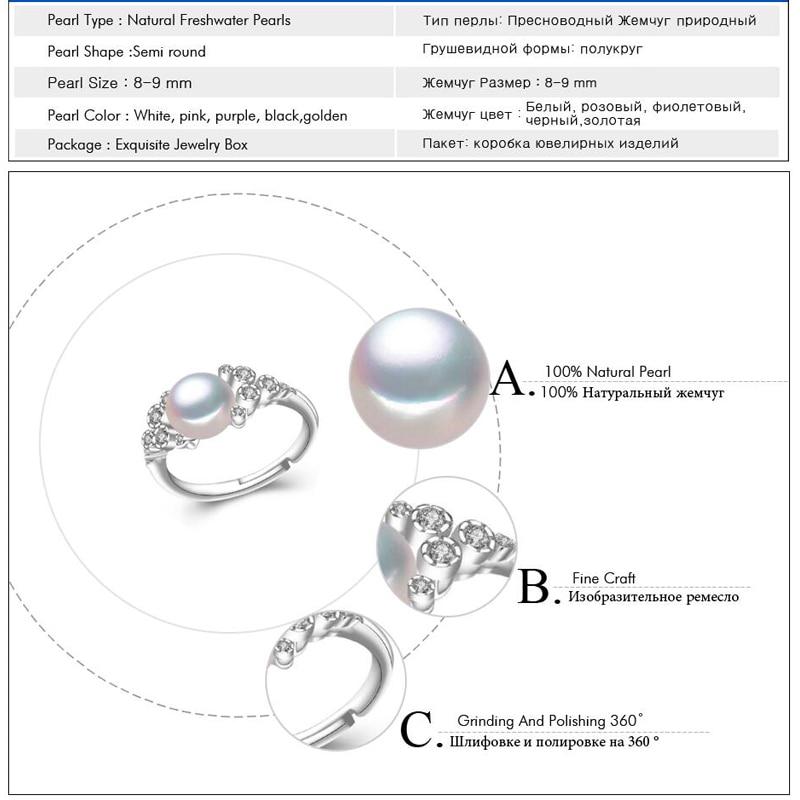 FENASY förlovningsring, naturliga pärlringar för kvinnor, - Fina smycken - Foto 6