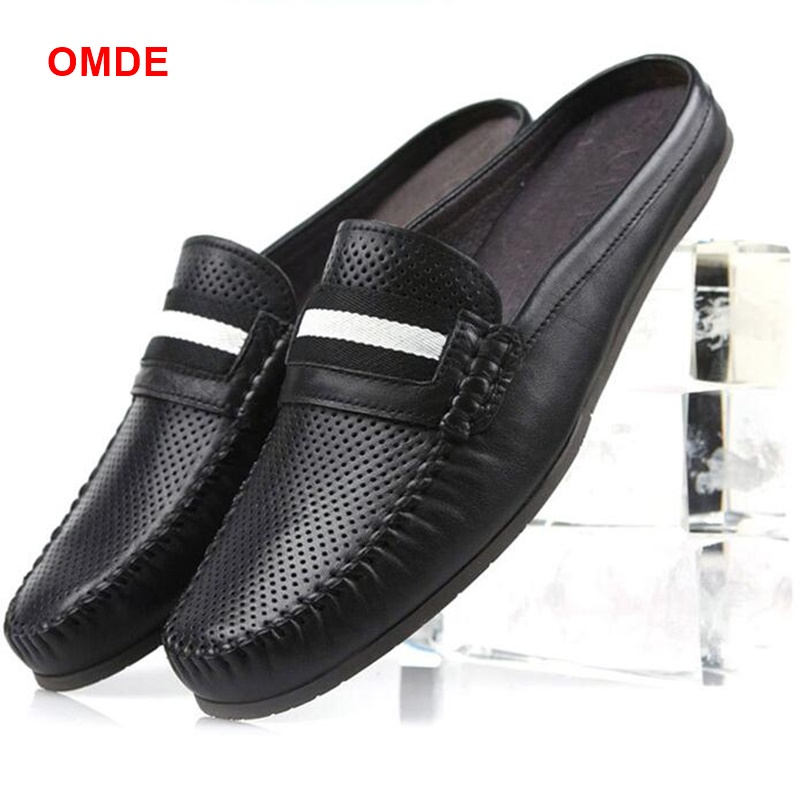 OMDE Summer Genuine Leather Men Loafers Fashion Slip On Slippers Breathable Mocassin homme Man Casual Shoes branded men s penny loafes casual men s full grain leather emboss crocodile boat shoes slip on breathable moccasin driving shoes