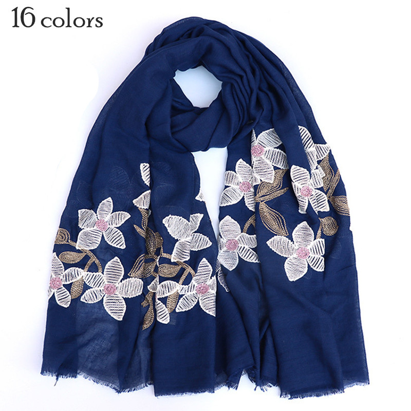 16 colors embroider white flowers scarf soft Muslim hijab scarves fringe soft plain maxi shawl soft foulard pretty winter wrap