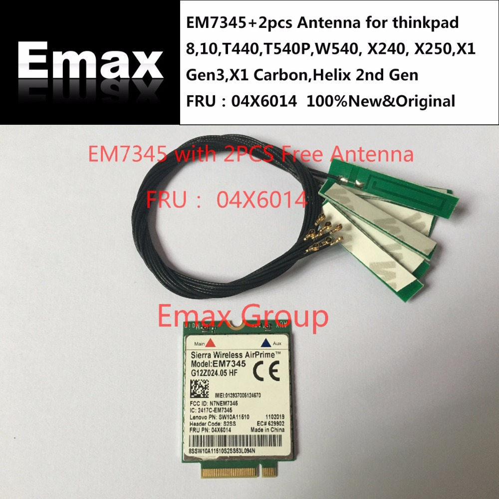 FRU 04X6014 04X6092 EM7345 Unlocked+2pcs Antenna for thinkpad 8,10,T440,T540P,W540, X240, X250,X1 Gen3,X1 Carbon,Helix 2nd Gen-in Integrated Circuits from Electronic Components & Supplies    1