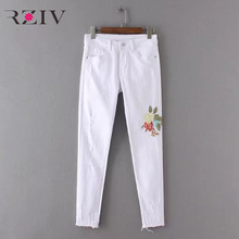 RZIV 2017 female jeans and white skinny denim jeans casual pure color flowers embroidered jeans