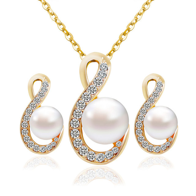 F&U Romantic Gold Color crystal with Pearl Wedding Necklace and Earrings Jewelry Set for Engagement S004