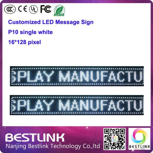 Крытый один белый p10 из светодиодов коллегия 16 * 128 пикселей бегущей текст из светодиодов войти электронные рекламный щит открыть вход