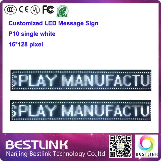 indoor single white p10 led display screen board 16*128 pixel moving text led sign electronic advertising billboard open sign