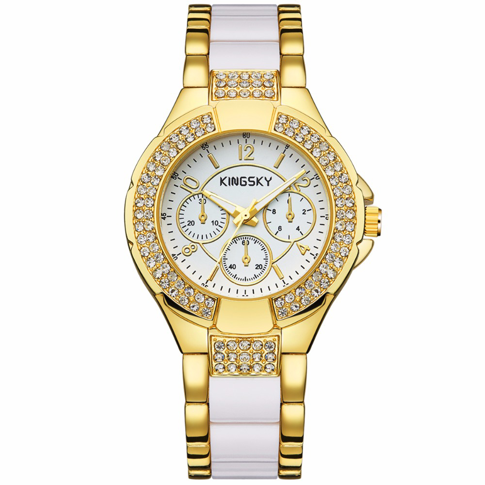 KingSky New Fashion Women Watches Brand Rhinestone Case Charming Gold Alloy Strap Quartz Wrist Watch Montre Femme Ladies Clock spring autumn children s clothing suits kids sweatshirts pants children sports suit boys clothes set retail toddler leisure