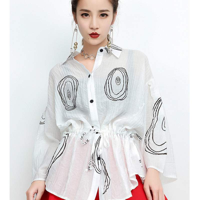Women Blouse Irregular Lace Up Turn Down Collar 2018 Summer Shirts Special Blouse Print Tops Slim British Style LT103S30