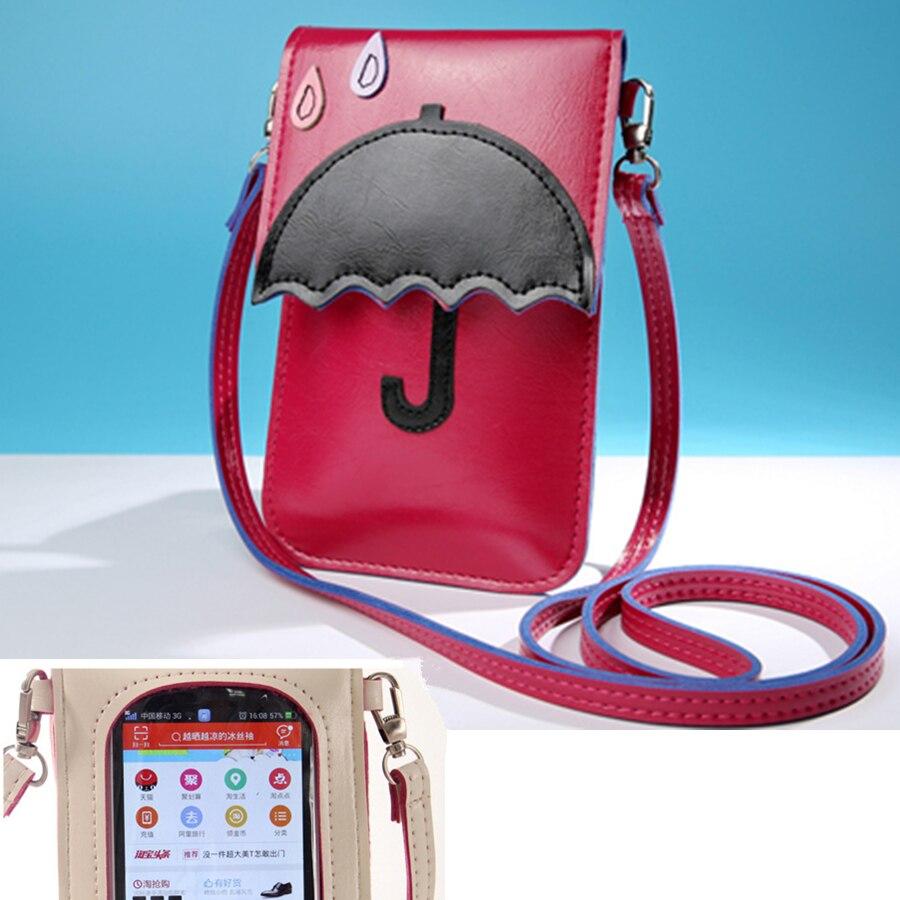 2018 fashion Simple Leather Mini Small Women Crossbody bag Messenger Shoulder Bag Purse Handbag mobile phone holder can touch