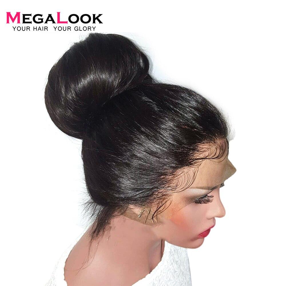 180% Densidade Peruca Dianteira Do Laço Do Cabelo Humano Em Linha Reta Pré 12-34 polegada Arrancou Com o Cabelo Do Bebê Cor Natural Remy cabelo