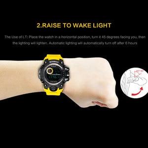 Image 4 - BOAMIGO brand UTC DST time watches raise to wake led light men digital sport military watches 50m swim waterproof rubber band