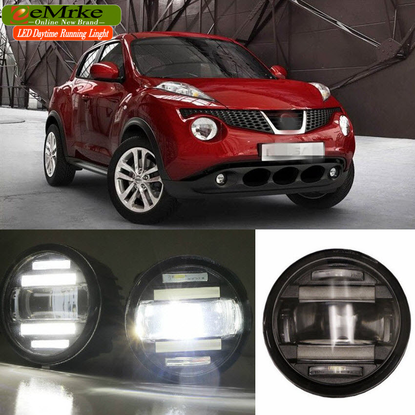 eeMrke Car Styling For Nissan Juke 2010 - 2014 2in1 Multifunction LED Fog Lights DRL With Lens Daytime Running Lights eemrke car styling for opel zafira opc 2005 2011 2 in 1 led fog light lamp drl with lens daytime running lights