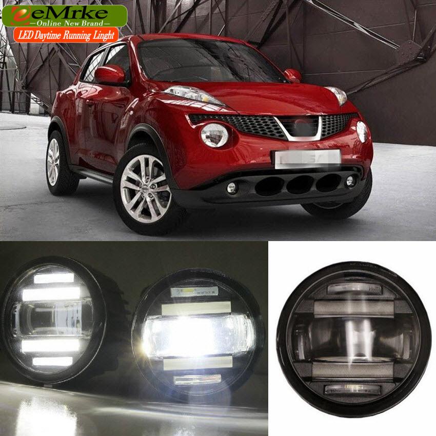 eeMrke Car Styling For Nissan Juke 2010 - 2014 2in1 Multifunction LED Fog Lights DRL With Lens Daytime Running Lights
