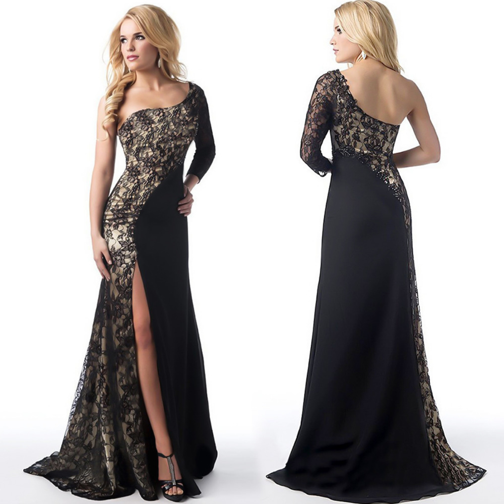 Lace One Shoulder Long Prom Dresses