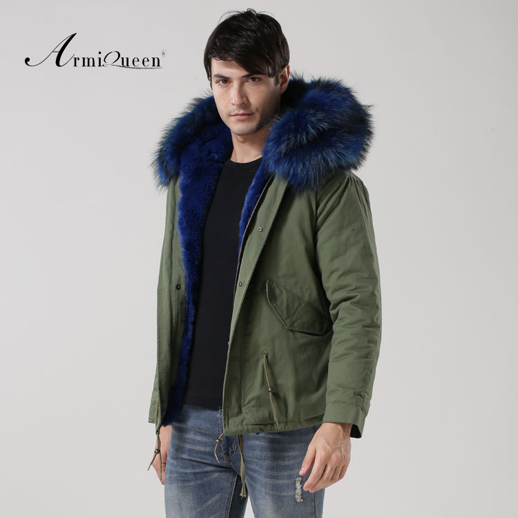 New Arrival 2016 fashion blue fur liner thicken parka men winter short big fur collar parka men
