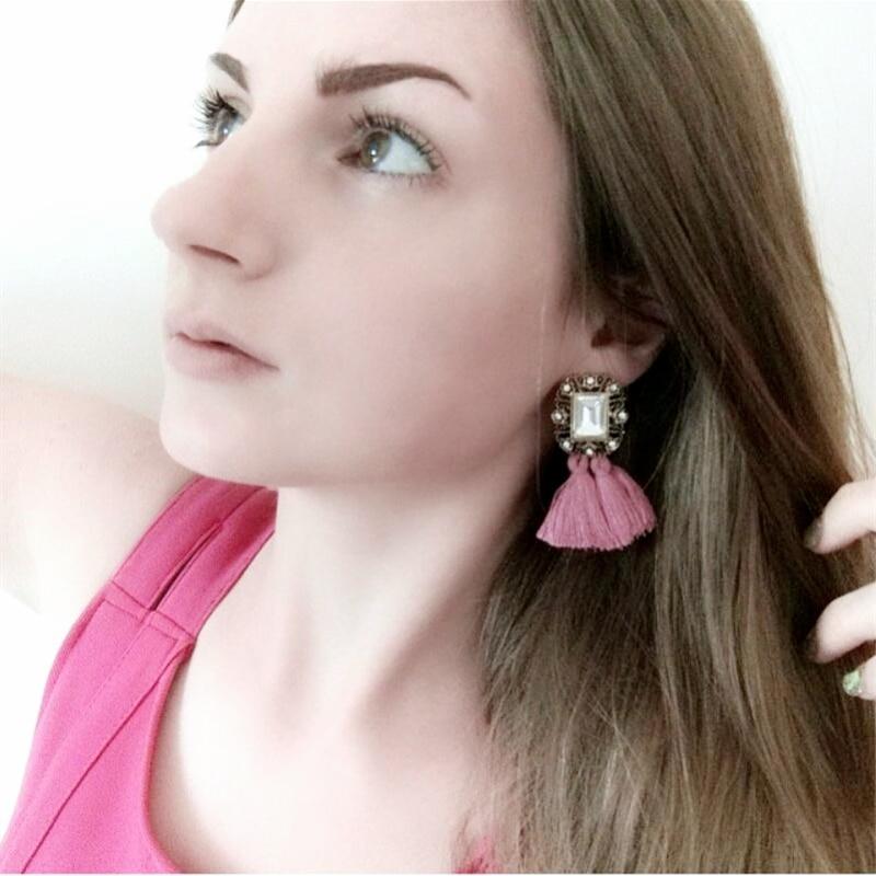 JURAN 2019 Modni nakit Žene Crysta Vintage Tassel Izjava Bib Stud Naušnice za žene Nakit Tvornica Cijena E2104
