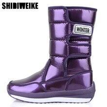 Buty damskie wodoodporne buty zimowe damskie buty śniegowe platforma utrzymuj ciepłe buty zimowe w połowie łydki z grubymi futrzanymi obcasami Botas Mujer
