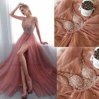 SuperKimJo V Neck Prom Dresses Long Vestidos De Festa Longo Beaded Dusty Pink Luxury Prom Gown 2019 Vestido De Gala