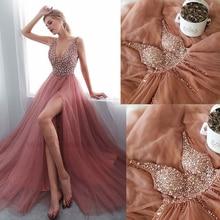 SuperKimJo V Neck Prom Dresses Long Vestidos De Festa Longo Beaded Dusty Pink Luxury Gown 2019 Vestido Gala