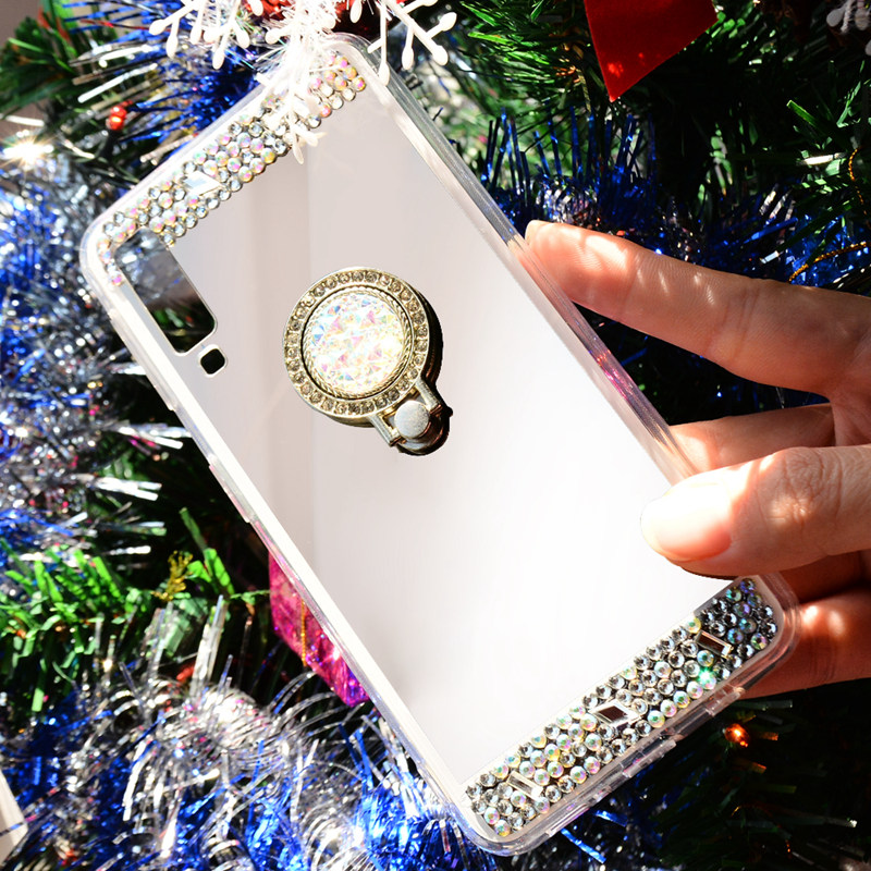 Luxury Rhinestone Diamond Stand Case For Huawei Mate 20 10 P20 Pro P30 Lite honor 9 Coque y6 y9 y7 Prime 2018 Mirror Phone Cases in Rhinestone Cases from Cellphones Telecommunications