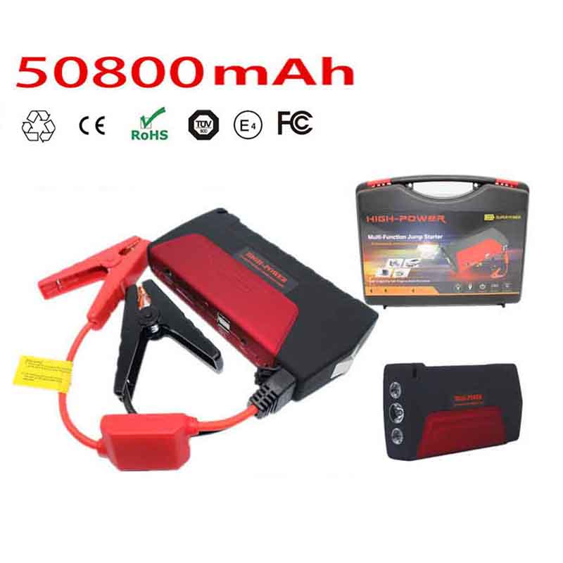 ФОТО 2016 New Capacity 50800mAh Car Jump Starter Mini Portable Dual USB Emergency Battery Charger for Gasoline Cars Red Color