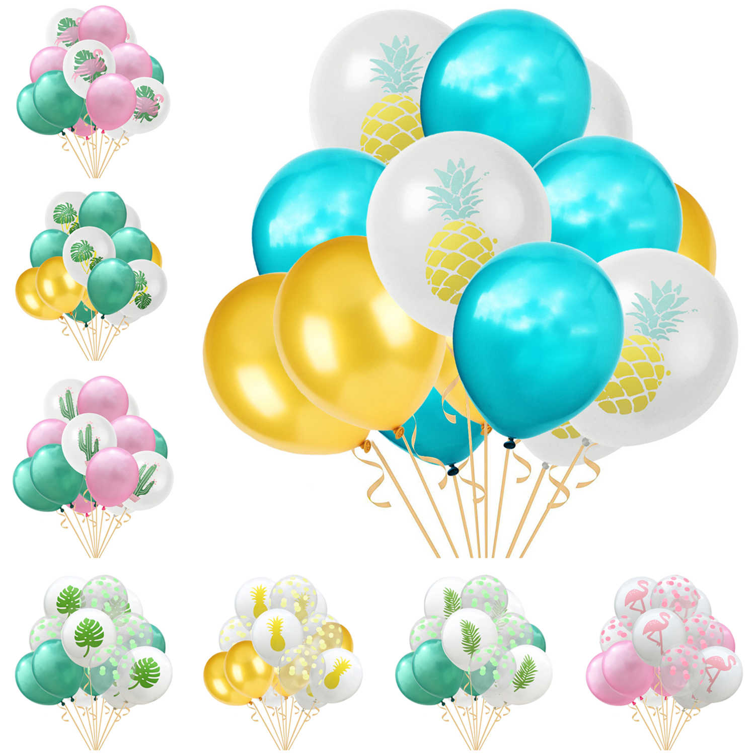 15pcs/set Pineapple Cactus Tropical Leaf Latex Balloons Pearl Helium Balloon Baby Shower Happy Birthday Wedding Party Decoration