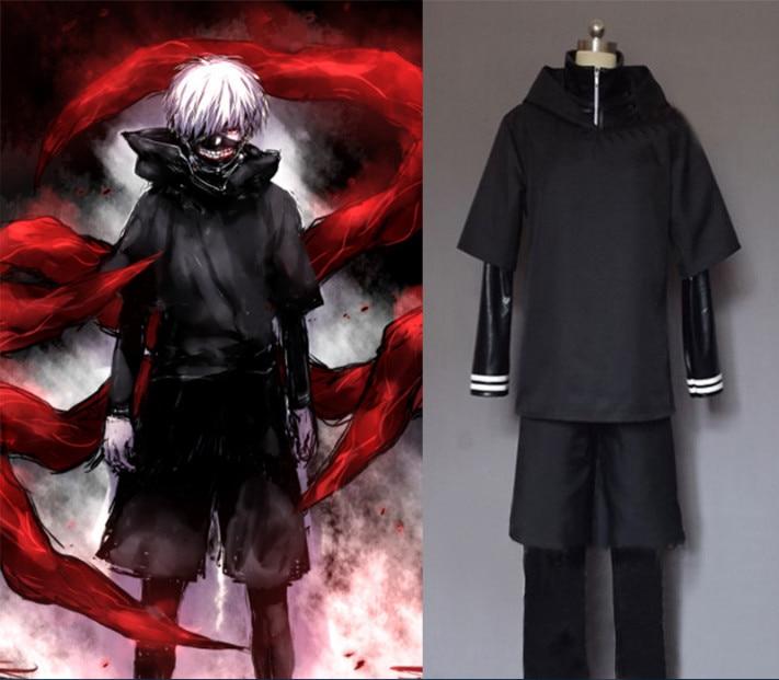 COSZTHKP Free Custom Tokyo Ghouls Ken Kaneki Cosplay Costume, Personality Hoodie Jackets Black Fight Uniform Full Set With Mask