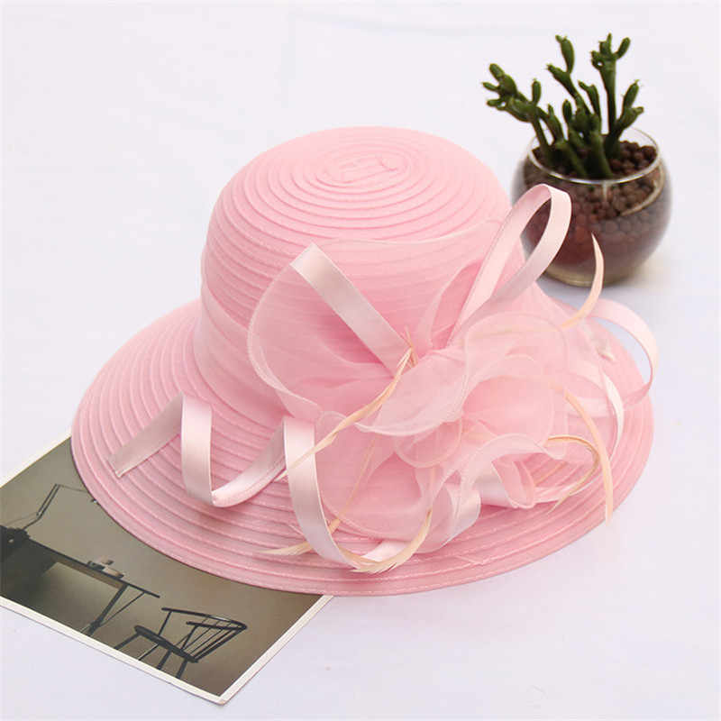 Pink Elegant Retro Flower Sun Hats for Women Ladies Organza Fashion Hat Wedding Top Hat UV Protection Sun Visor Beach Summer Cap
