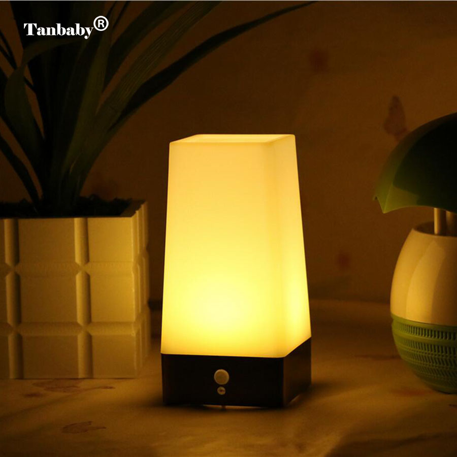 Tanbaby LED Night Light PIR Motion Sensor Bedside Table Lamp Battery-Operated Wireless Night Light For Bedrooms Living Room