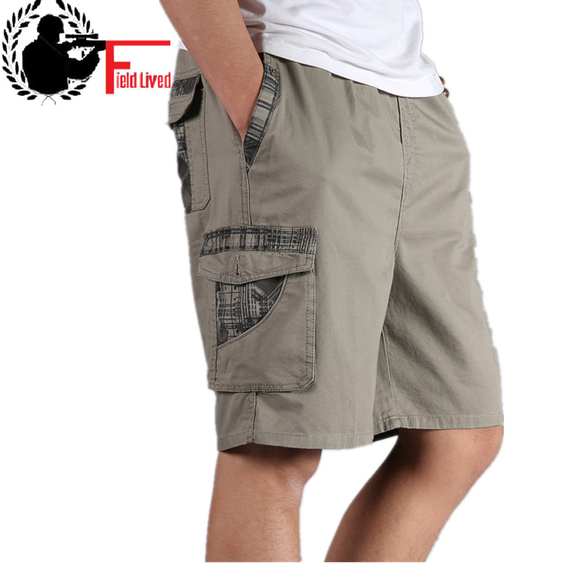 Plus-Size Men Short Cargo Bermuda Elastic-Waist Army-Green Baggy Summer Cotton 6XL XXXL