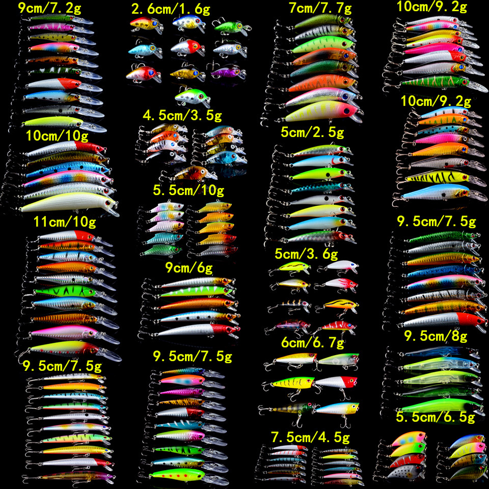 159pcs/lot Fishing Lures Set Mixed 19 Model Wobblers Fishing Tackle 159 Colors High Quality Minnow/Crank/VIB/Popper Bait MIX