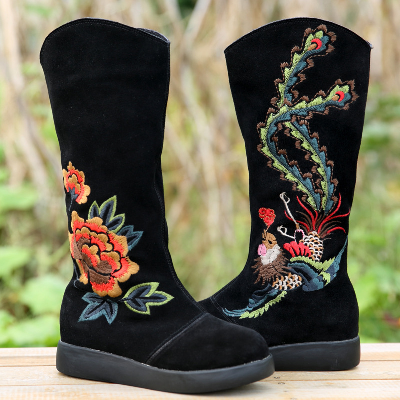 Chinese Style Women Autumn Winter Genuine Leather Embroidery Height Increase Elevator Fashion Mid Calf Boots Size 35-39 SXQ0812