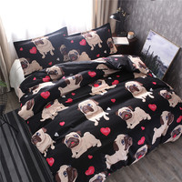 Cute Bulldog Bedding Set Red Heart shaped Kids Cartoon Bed Set Double Size Duvet Cover Animal Matador Dog Pug bed Bedclothes