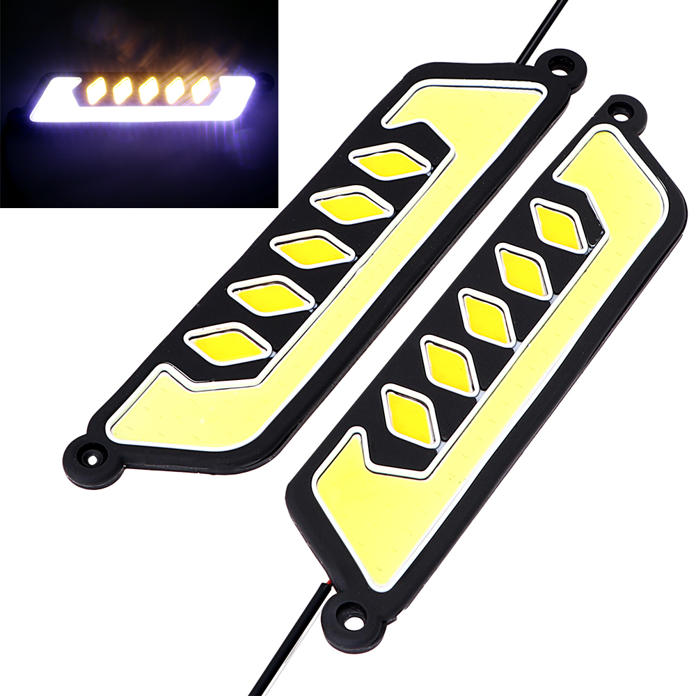 2Pcs LED Car Daytime Running Light COB Fog Lamp Flexible Turn Signal Lamps Day Light DRL Car-styling Waterproof Super Bright 2pcs set new design drl led daytime running lamp auto cob light 100% waterproof car accessories free shipping