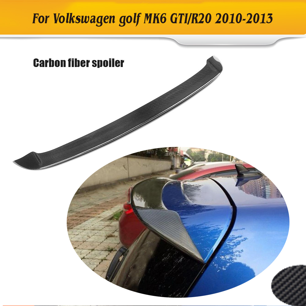 Carbon fiber Auto car rear trumk boot wing lip spoiler for VW Golf VI MK6 R20 GTI 2010-2013 car styling carbon fiber auto rear wing spoiler lip for vw scirocco 2010 2012