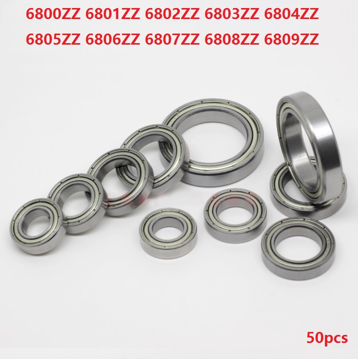 50pcs/lot 6800ZZ 6801ZZ <font><b>6802ZZ</b></font> 6803ZZ 6804ZZ 6805ZZ 6806ZZ 6807ZZ 6808ZZ 6809ZZ Deep Groove Ball Bearing Metal Shielded image