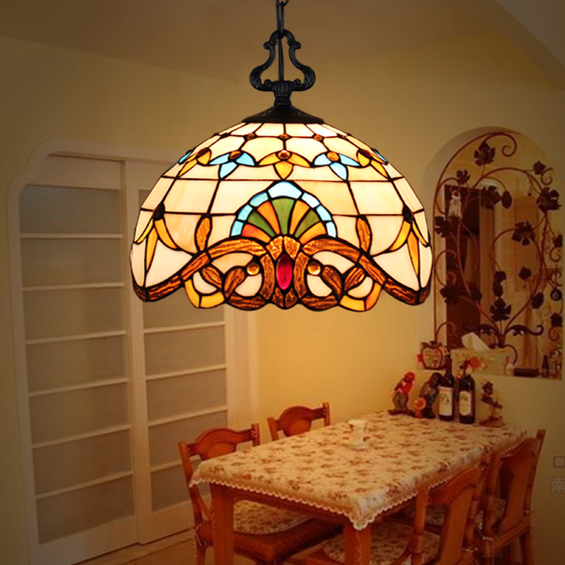 European Glass Pendant Lamps Dining Room Bedroom Study Retro Lighting Corridor Pastoral Aisle Creative Pendant Lights led lamp fumat stained glass pendant lamps european style glass lamp for living room dining room baroque glass art pendant lights led
