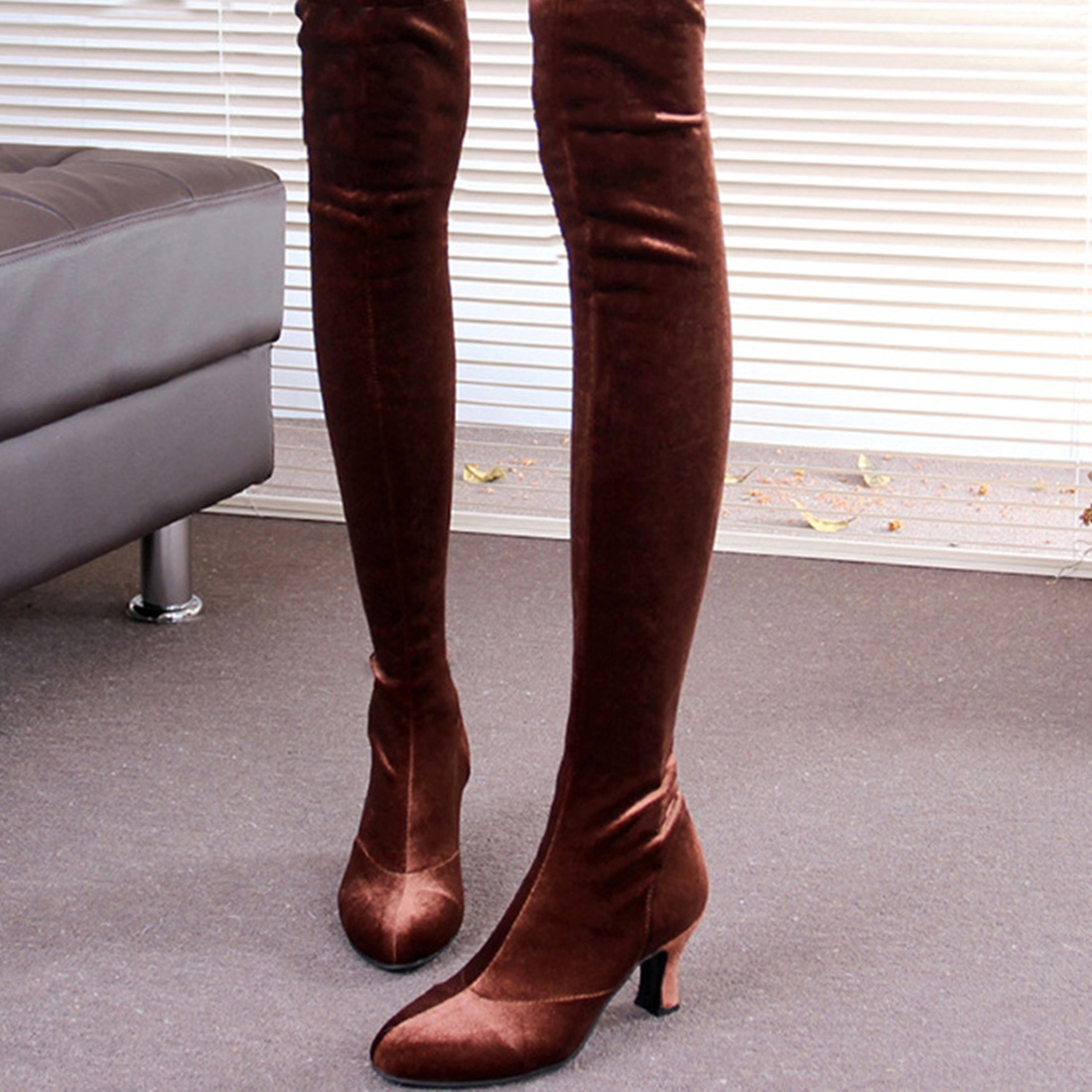 ФОТО Big Size Women High Heel Boots Over The Knee Thigh High Boots Sexy Lady Fashion Winter Shoes strech Knight Boots