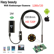 Hazy beauty 8mm Lens 6LED HD 720P 1M WiFi Endoscope IP67 Waterproof Inspection Camera for ios and Smartphone Android PC