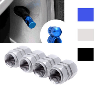 Universal 4 PCS Aluminum Auto Bicycle Car Tire Valve Caps Tyre Wheel Hexagonal Ventile Air Stems Cover Airtight rims Accessories image