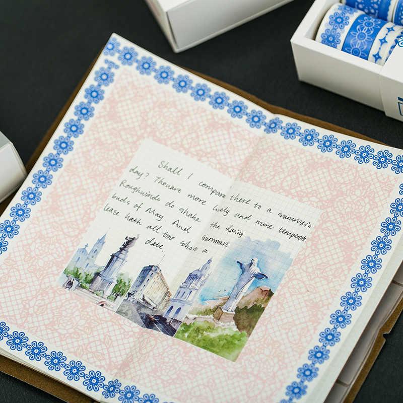 8 sztuk koronki taśma washi zestaw 8mm 10mm 15mm dekoracji kolor taśmy maskujące naklejki do pamiętnika książka album scrapbooking prezent DIY A6405