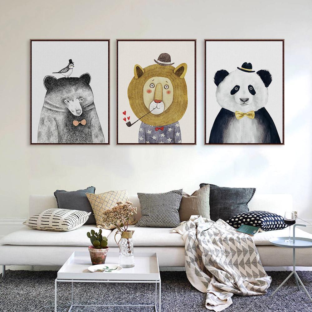 Triptych Watercolor Nordic Animal Lion Bear Panda A4 s
