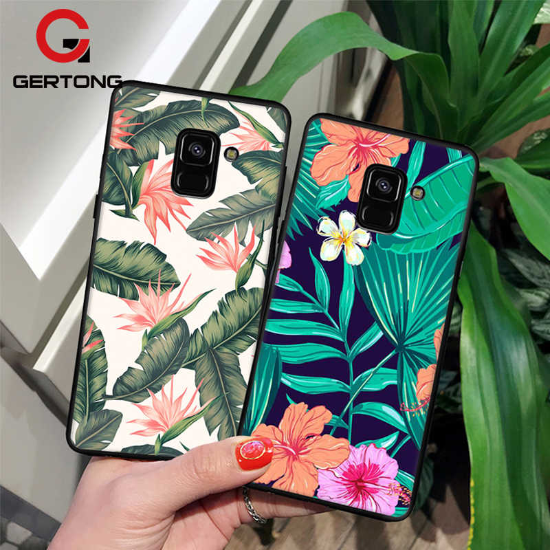 GerTong สำหรับ Samsung Galaxy A8 พลัส 2018 A3 A5 A7 2017 2016 S9 S8 พลัส S7 S6 ขอบกรณีทีพียูฝาครอบซิลิโคนดอกไม้เขตร้อน