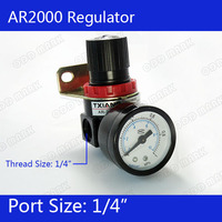Free Shipping AR2000 Pressure Regulator 1 4 BSPT With Gauge And Bracket 1000L Min