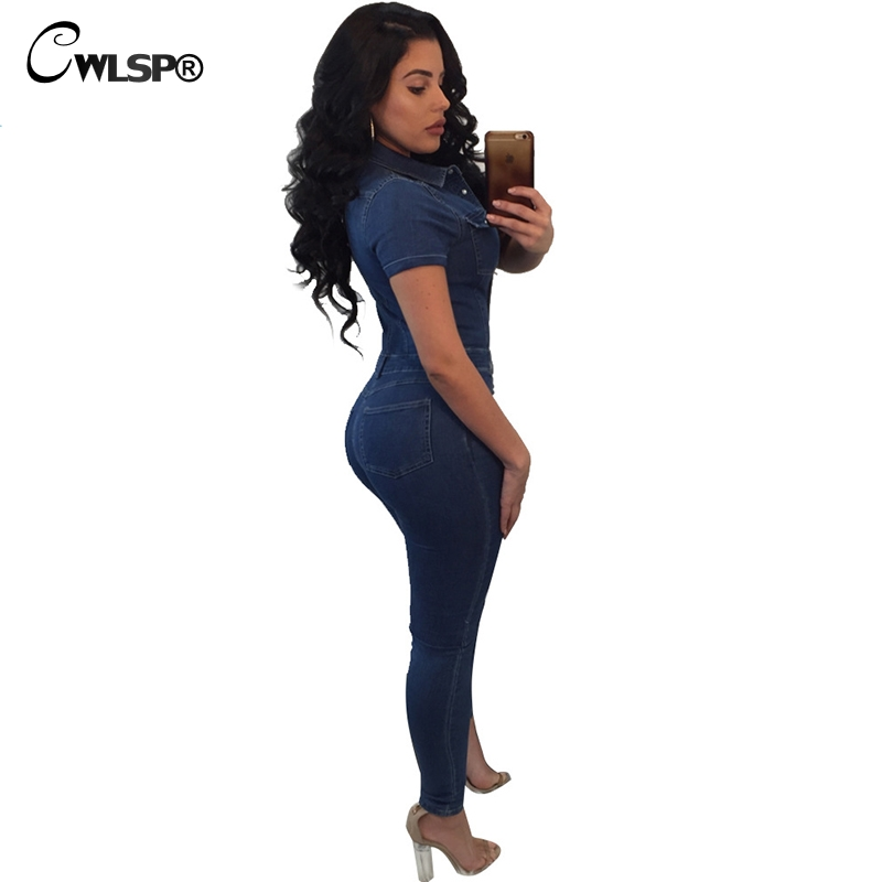 eab0f83686e CWLSP 2018 Summer Women Jumpsuit 2018 Sexy Deep V neck Jeans Denim Jumpsuit  Size Plus Short Sleeve With Pocket QZ2736-in Jumpsuits from Women s  Clothing ...