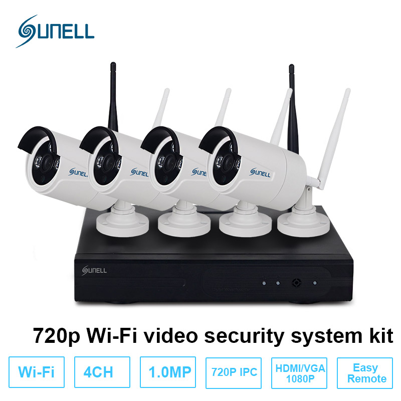 SUNELL Plug and Play 4CH Wireless NVR Kit P2P 720P HD Outdoor IR Night Vision Security IP Camera WIFI CCTV System Surveillance