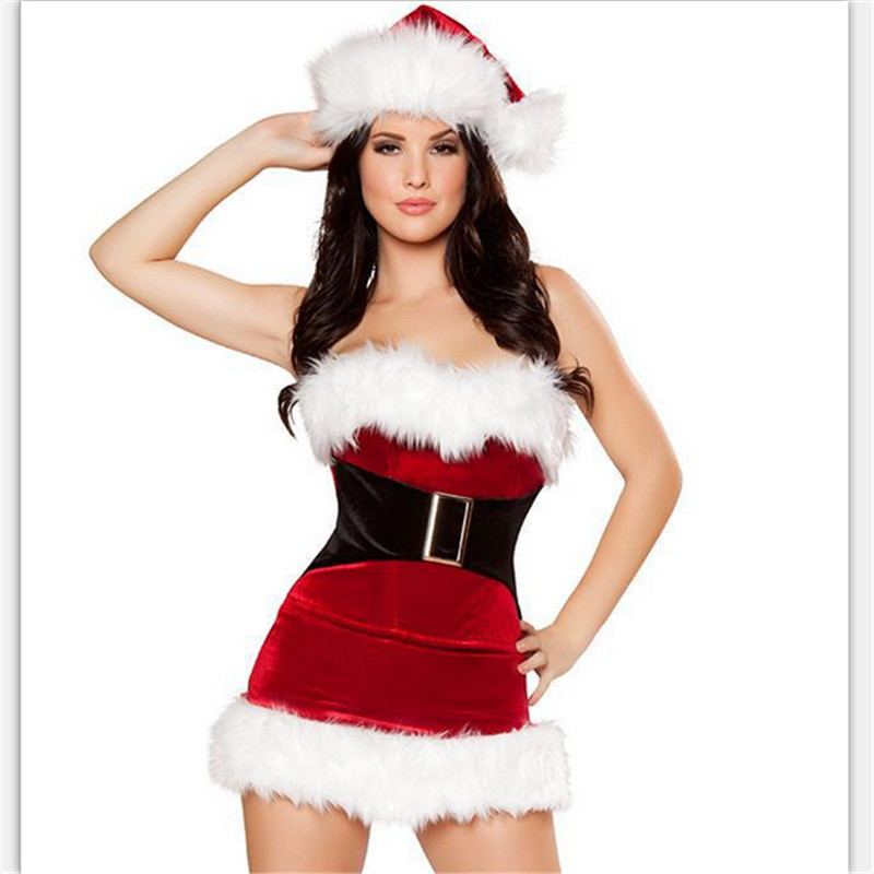 f7e275b347 2018 Hot Sale Fashion high quality Sexy RED Fur Santa Cape Xmas Costume with  hat wholesale Sexy Christmas Dress Women-in Holidays Costumes from Novelty  ...