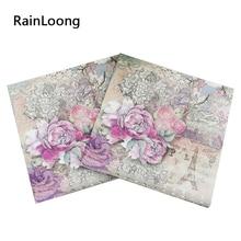 RainLoong Tower Paper Napkins Rose Festive & Party Tissue Floral Decoration Guardanapo 33cm*33cm 20pcs/pack/lot
