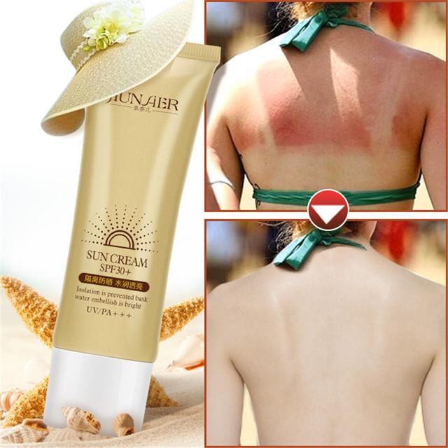 Bronzeado Creme Spf30 protetor solar Proteção UV Protetor Solar à prova d' água Marca de Maquiagem Nua Corretivo Rosto e Corpo Creme Solar