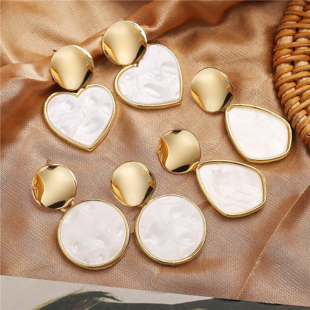 ECODAY Korean Acrylic Earrings ZA 2019 Geometric Heart Earrings Statement Earrings for Women Drop Earrings Pendientes Brincos in Drop Earrings from Jewelry Accessories