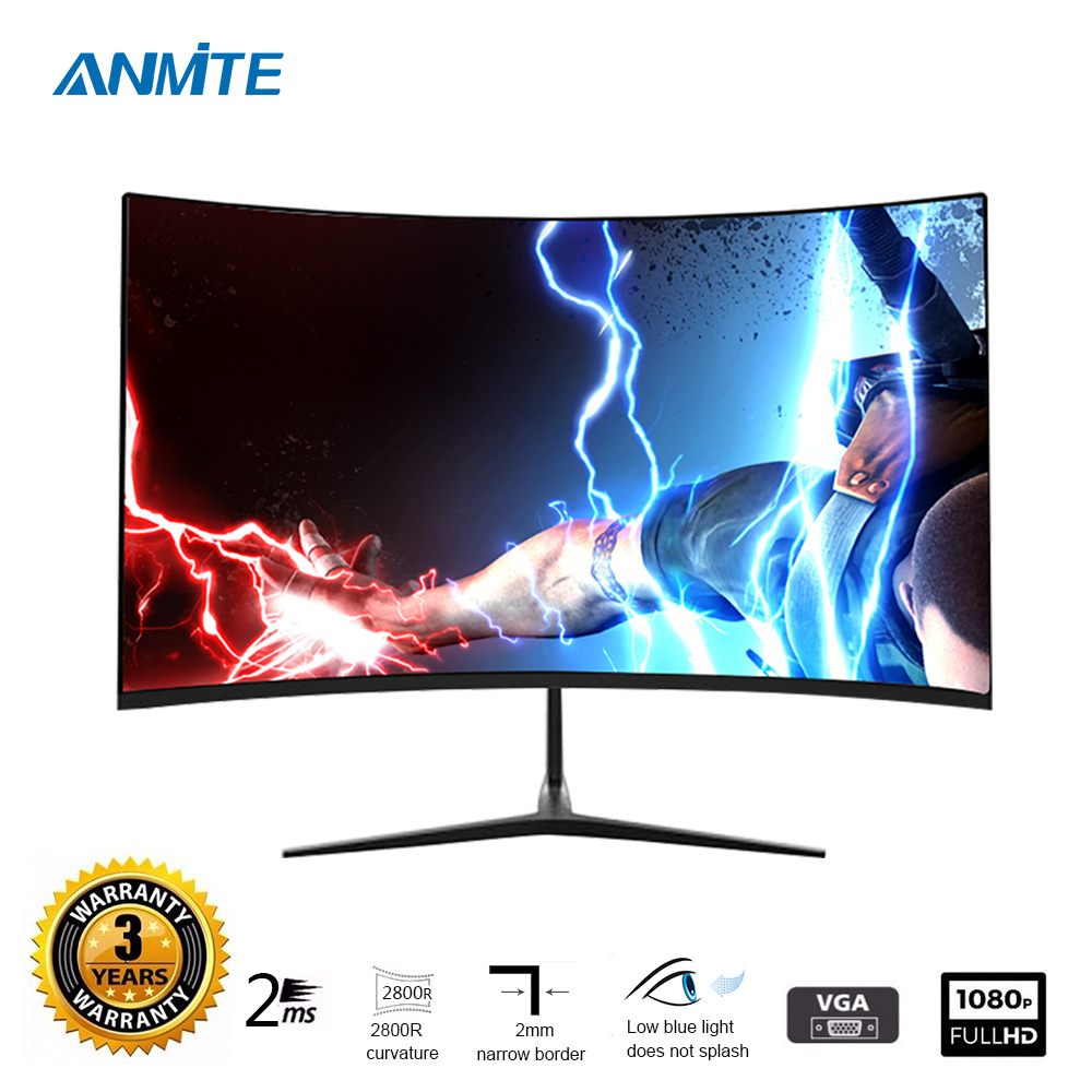 Anmite 23.8 Inch  FHD Hdmi HDR Curved TFT LCD Monitor Gaming Game Competition Led Computer Display Screen HDMI/VGA